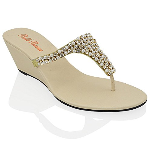 (ESSEX GLAM Womens Toe Post Sparkly Diamante Nude Synthetic Dressy Wedge Heel Sandals 9 B(M) US)