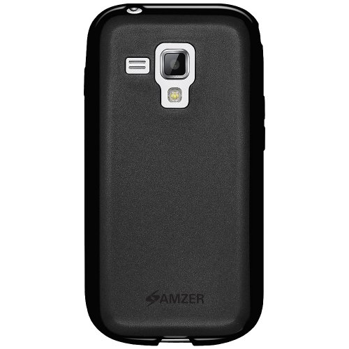 Amzer AMZ95112 Soft Gel TPU Gloss Skin Fit Case Cover for Samsung Galaxy S Duos S7562 - 1 Pack - Retail Packaging - Black