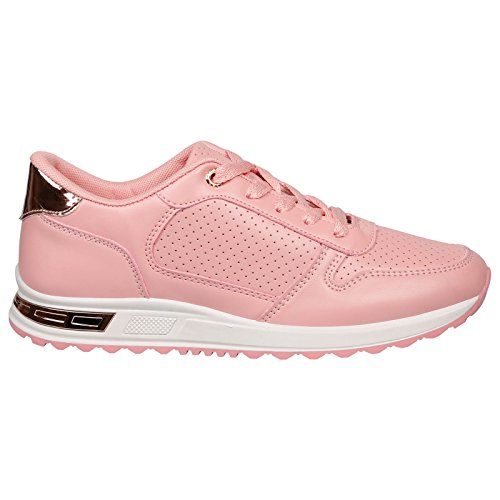 Feet First Fashion Maxine Womens Flats Low Heel Lace up Trainers Ladies Fitness Gym Style Shoes New Pink Faux Leather okHbYb3M