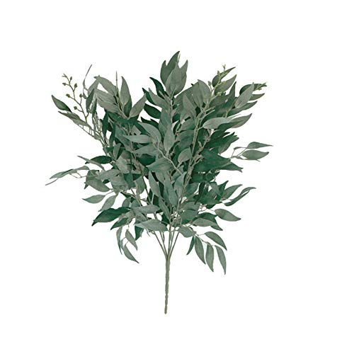WskLinft Artificial Flowers, Fake Outdoor UV Resistant Artificial Willow Foliage Leaf Indoor Outside Home Kitchen Office Photograph Prop Wedding Garden Decor and Table Centerpieces Grey ()