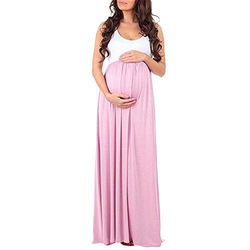 (Women's Maternity Color Patchwork Casual Sleeveless Crew Neck Pregnanty Empire Waist Maxi Dress (M, Pink))