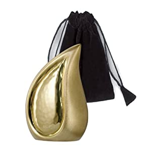 Elegante Beautifully Crafted Brushed Brass Tear Drop Series Keepsake with Elegant Velvet Pouch