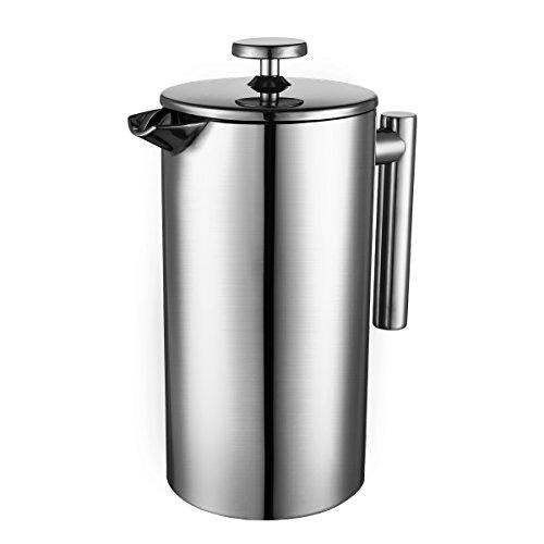 Topop Edelstahl French Press Set Kaffeebereiter, Französisch Presse 1000mL Cafetiere, Espresso Kaffee oder Tee Maker, Teekanne, mit 2 Honig Löffel, ein Kaffee Schaufel und doppeltem Filter