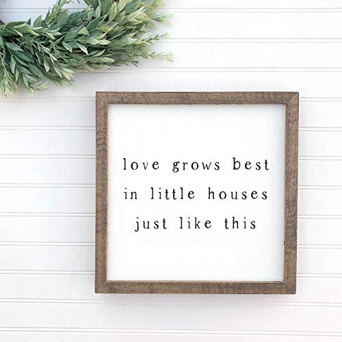 DoreenAbe Personalized Framed Wood Sign, Love Grows Best in Little Houses Just Like This Framed Wood Sign, Rustic Farmhouse Decor, Housewarming Gift