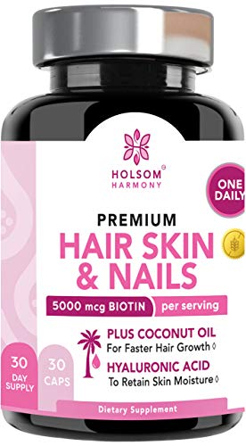 Biotin 5000 mcg – Hair Skin and Nails Vitamins – Biotin for Hair Growth with Coconut Oil – Vitamins for Women; Nail Growth and Strengthener + Glowing Skin – Made in USA (One Pill A Day) 30 V Caps Review