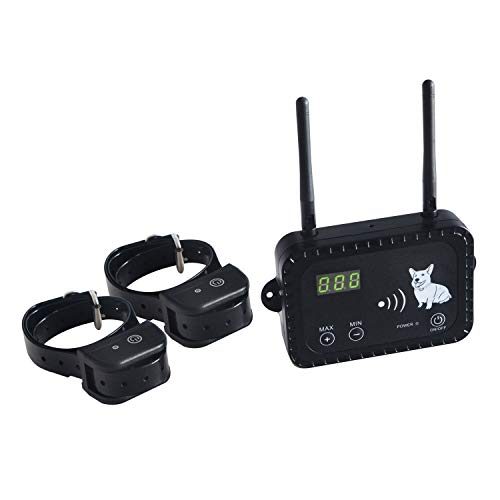 Dog Wireless Fence Pet Electric Containment System, Safe Effective Anti Over Shock Design, Adjustable Range Up to 900 Feet & Display Distance, Rechargeable Waterproof Collar Receivers (2 Dog System)