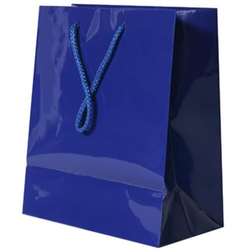 JAM Paper® Glossy Gift Bags with Rope Handle - Medium Size (8 x 4 x 10 inches) - Blue - Sold Individually