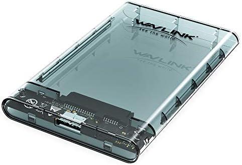 """WAVLINK 2,5"""" Externes Festplattengehäuse, Externes festplatten Gehäuse für 9,5mm 7mm 2,5"""" SATA SSD HDD mit USB3.0 Kabel, Werkzeugfreie Montage, UASP Beschleunigung [Transparent]"""