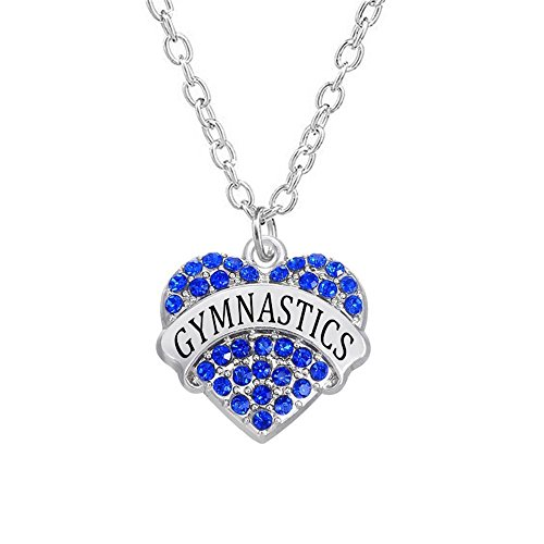 Divine Kids Silvertone Crystal Covered Heart Shaped Gymnastics Charm Pendant Necklace (Blue)