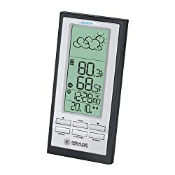 Meade Instruments TE388W Wireless Weather Forecaster with Atomic Clock, Black