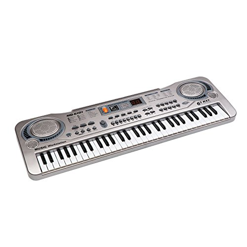 aPerfectLife Piano for Kids, Multi-Function 61 Keys Electronic Organ Kids Piano Musical Teaching Keyboard Toy for Kids Children (Silver)