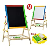 2 In 1 Kids Fun Standing Easel Erase Drowing Board Chalk Board Adjustable Height