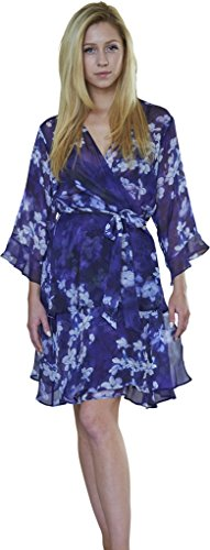 Dynasty Robes 100% Silk, Women's Printed Short Robe With Kimono Collar-Midnight Whisper,Multi-color,Medium (Tiered Silk Chiffon Gown)