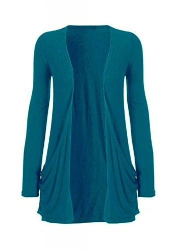 Hot Hanger Ladies Plus Size Pocket Long Sleeve Cardigan 16-26 – Medium – 6-8, Teal