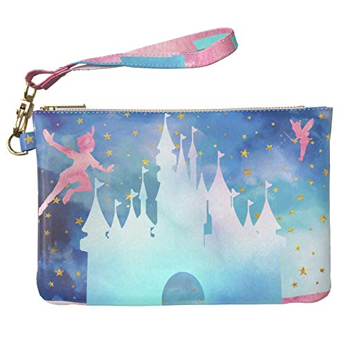 (Lex Altern Makeup Bag 9.5 x 6 inch Castle Tinkerbell Peter Pan Cartoon Disney Blue Star Print Purse Pouch Cosmetic Travel Case Toiletry Women Zipper Organizer Bathroom Storage Wristband Girl Design)