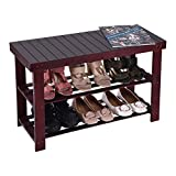 Natural Bamboo Entryway Bench (28inch×11inch×18inch) Hallway Wood Shoe Bench Wooden Shoe Rack for Bedroom