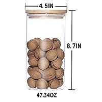 WarmHome Oak Lid Borosilicate Glass Clear Airtight Canister(47.34oz)