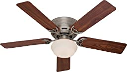 Hunter 53074 52-Inch Low Profile III Flush Mount Ceiling Fan with Light - Antique Pewter