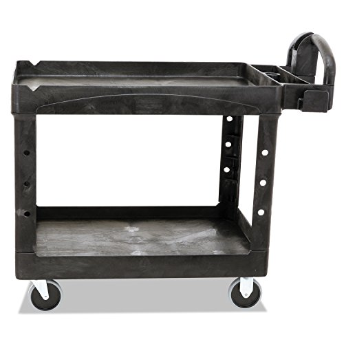 Rubbermaid Commercial Heavy-Duty 2 Shelf Utility Cart, Lipped Shelves, Medium, Black, 500 Pound Capacity (FG452088BLA)