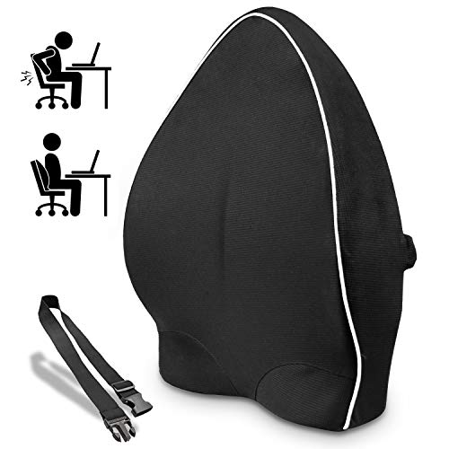 Lumbar Support Back Cushion,Back Pillow for Office Chair and Car Seat,Ergonomic Lumbar Support Pillow Memory Foam Orthopedic Backrest for Couch Sofa Reading Lower Sciatica with Adjustable Straps (Chairs Wedge Cushions For)