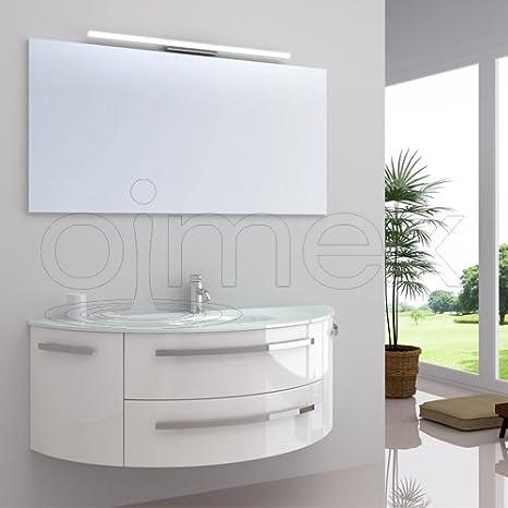 """OimexGmbH Design Badmöbel Set """"Côte d\'Azur"""" Weiß Hochglanz Waschtisch 120cm  inkl. LED Beleuchtung Armatur und Spiegel Badezimmermöbel Set mit Glas ..."""