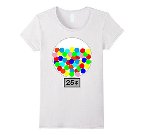 Womens Halloween Costume DIY Idea Gumball Machine Dispenser T Shirt Medium White