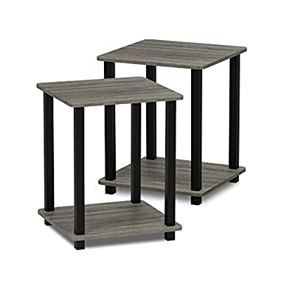 Furinno 12127CWN/BK Turn-S-Tube End Table 2-Pack, Columbia Walnut/Black from Furinno