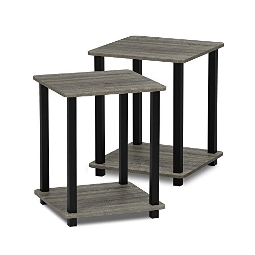 Furinno 12127GYW/BK Turn-S-Tube End Table 2-Pack, French Oak Grey/Black