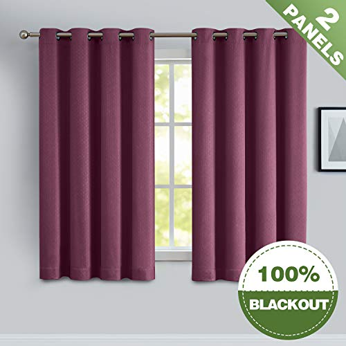 ECODECOR Girls Bedroom Curtains 100% Blackout Red 63