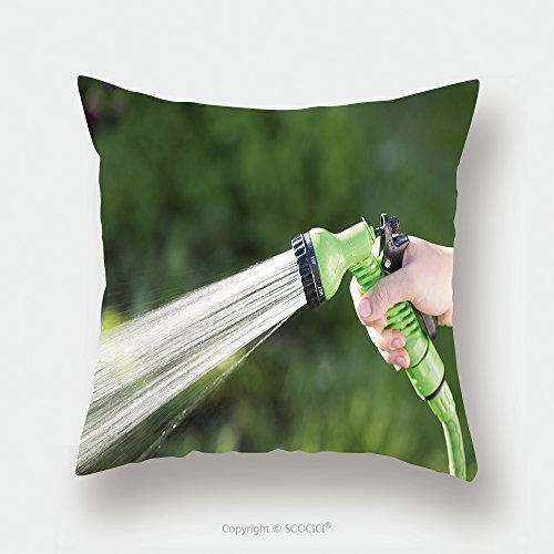 Custom Satin Pillowcase Protector Woman S Hand With Hose Sprinkle Watering Plants In The Garden 485481328 Pillow Case Covers Decorative