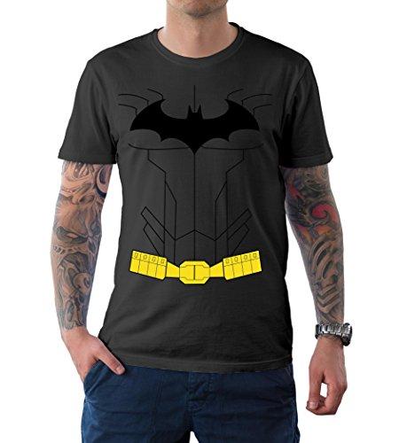 Mens Batman Arkham Knight Costume for Halloween 2017 - Cosplay T-Shirt | Dark Grey, M