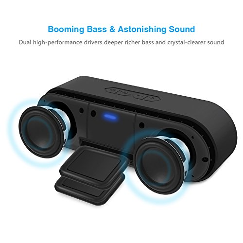 BassPal SoundRo Portable Bluetooth Speaker, 12W Wireless Speaker Lound Stereo Sound, Rich Bass, TF Card Slot, 24-Hour Playtime, 66 ft Bluetooth Range & Built-in Mic Outdoor Home Party Travel Speakers by BassPal (Image #1)