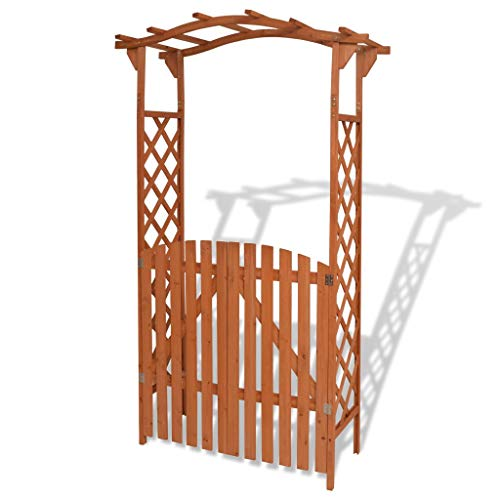 (Saideke Home Garden Arch with Gate Pergola Arbors Solid Wood for Garden Outdoor Patio 47.2