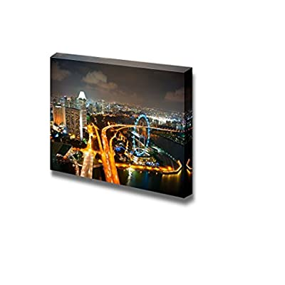Beautiful Scenery Landscape Aerial View of Singapore at Night with Singapore Flyer in The Right Corner - Canvas Art Wall Art - 32