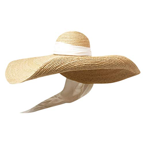 MEANIT Womens Sun Straw Hat Oversized Wide Brim Summer Hat Foldable Roll up Floppy Beach Hats Cap Packable for Travel