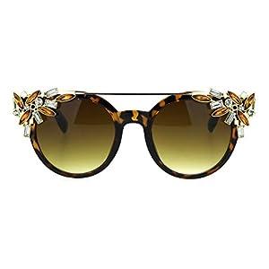 Fancy Rhinestones Fashion Sunglasses Bling Metal Top UV400 Tortoise Gold Brown