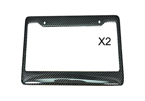 ICBEAMER Waterproof Black Plastic + Gloss Carbon Fiber on top Auto Vehicle Truck Van License Plate Frame [Pack of 2 - Carbon F430