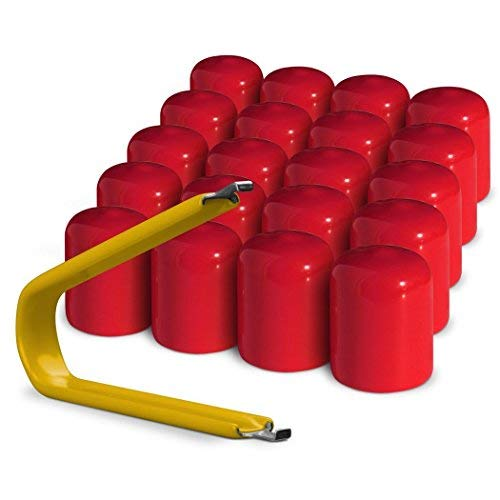 ColorLugs Vinyl LugCap Lug Nut Cover Red | Flexible Fit Lug Nut Cap | Fits 21-23mm wide x 1 Inch deep | Pack of 20 & Deluxe Extractor | Available in a Variety of Colors and Sizes | Made in the USA
