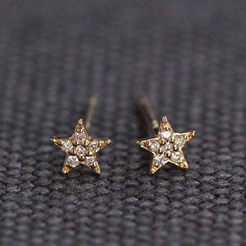 (Diamond Star Studs, Diamond Set Gold Studs Earrings, Diamond Star Earrings, Diamond Studs, Tiny Star Earrings)