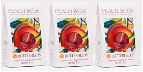 Butterfields Candy - Gourmet, Old-Fashioned Peach Buds Hard Candy, 3 Oz (3 Pack) | Gluten Free | Made with 100% Real, Pure Cane Sugar | Handcrafted in the USA (Best Peaches In Georgia)