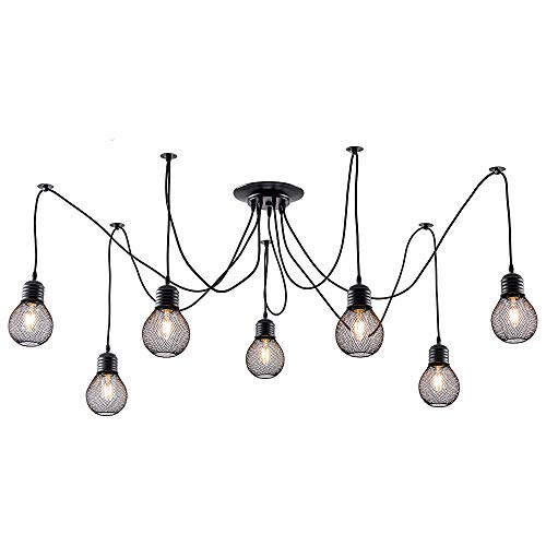 LULING Industrial Cluster Multi Pendant Light, Metal Mesh Cage Ceiling Light Adjustable DIY Spider Swag Lights Vintage Black Finish for Kitchen Island ()
