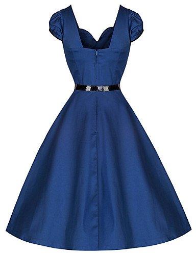 PU&PU Robe Aux femmes Swing Vintage,Couleur Pleine Col en V Mi-long Coton , blue-l , blue-l