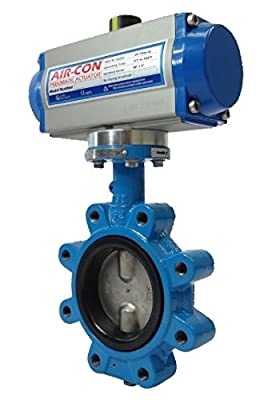 "4"" Air Actuated Butterfly Valve 125# Lug DI SS 80 PSI SR Fail Open Actuator 100 PSI Line Pressure from Max-Seal Actuated"