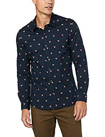 French Connection Men's Fox Head L/S Custom FIT Shirt, Marine Blue, Small