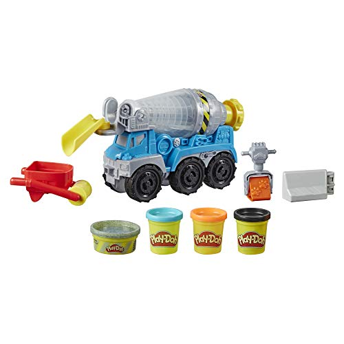 Play-Doh Wheels Cement Truck Toy for Kids Ages 3 & Up with Non-Toxic Cement-Colored Buildin