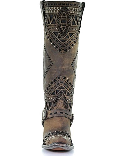 Corral Womens Distressed Inlay Con Borchie Boot Cow Snip Toe - Marrone A3594