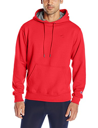 Champion Men's Powerblend Pullover Hoodie, Team Red Scarlet, Small