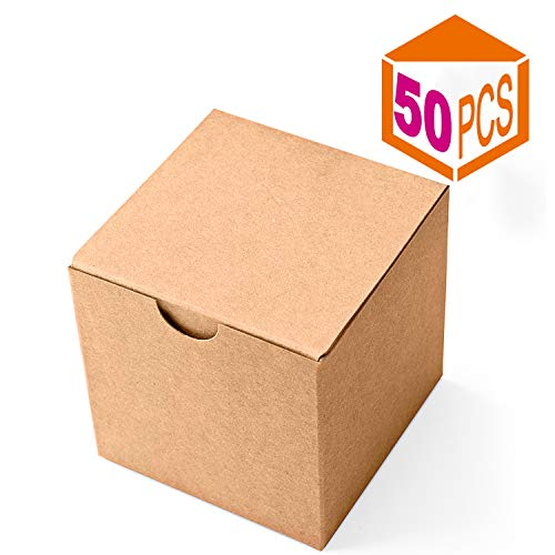 (MESHA Kraft Gift Brown Boxes 50 Pack 3 x 3 x 3 inches, Paper Gift Boxes with Lids for Gifts, Mugs, Cupcake Boxes)