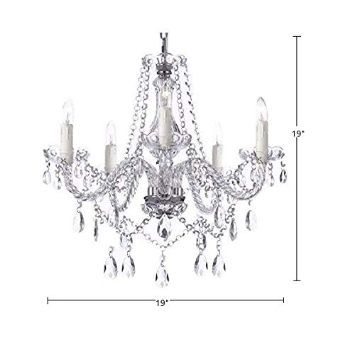 Saint Mossi Modern Contemporary Elegant K9 Crystal Glass Chandelier Pendant Ceiling Lighting fixture - 5 Lights by Saint Mossi (Image #3)