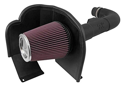 K&N Cold Air Intake Kit with Washable Air Filter:  2014-2018 Chevy/GMC (Silverado 1500, Sierra 1500) 4.3L V6, Black HDPE Tube with Red Oiled Filter, 63-3085